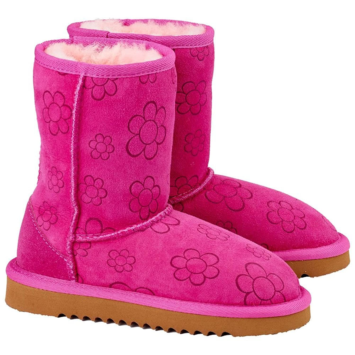 Kirkland Girls Womens Shearling 100% Sheepskin Boots Pink Flower Print  Design Junior Sizes (UK 3 Junior): Amazon.co.uk: Shoes & Bags