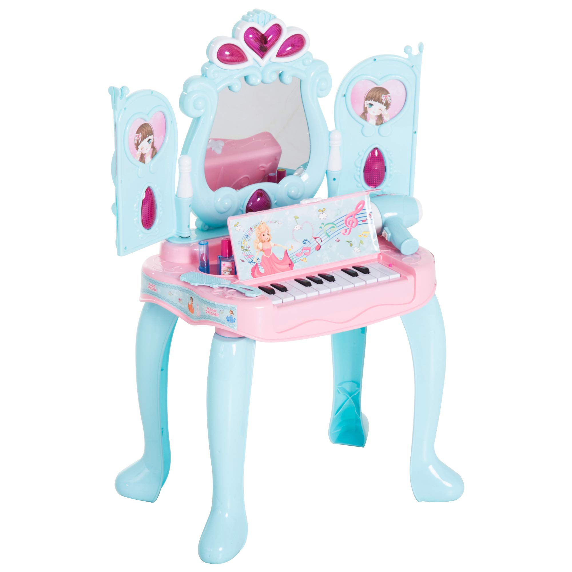 Qaba 2-in-1 Kids Pretend Play Set Piano Princess Vanity Table with Lights, Sounds, and Accessories - Light Blue/ Pink by Qaba
