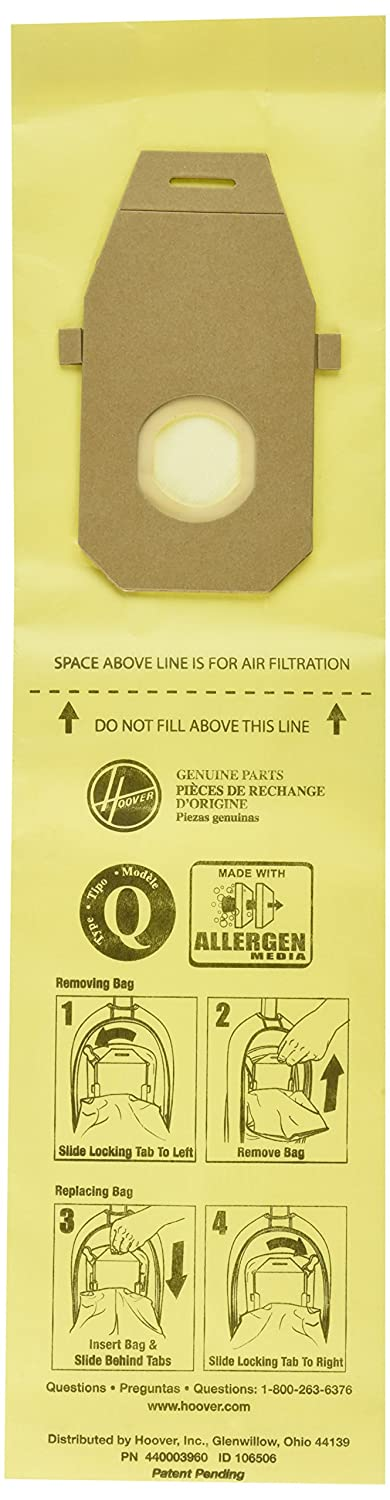 Hoover AH10021 Upright Bags for HushTone Lite, Allergen Filtration (Pack of 10)