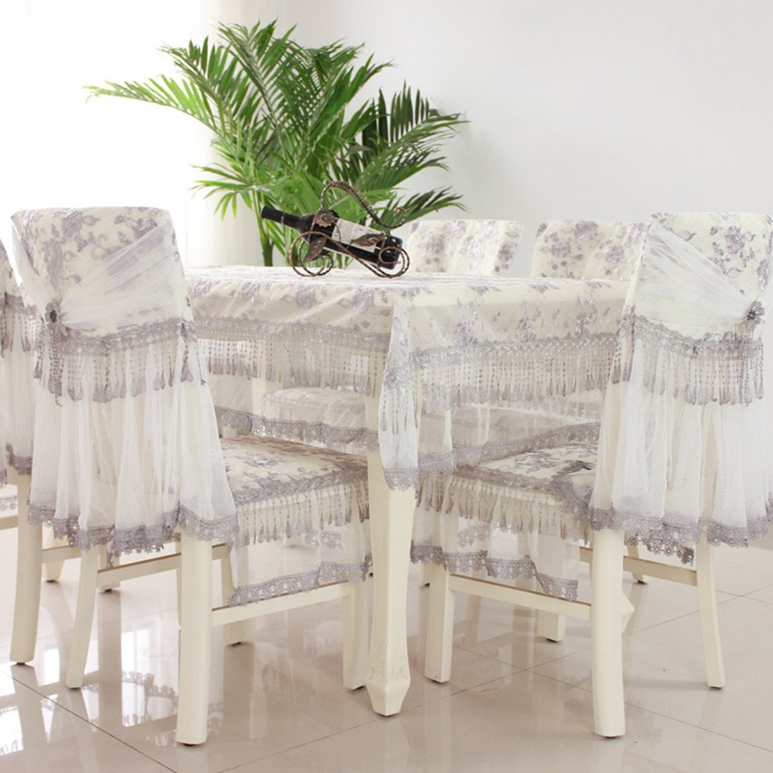 Country style grey check lace square tablecloths 59''59''(150 150cm)