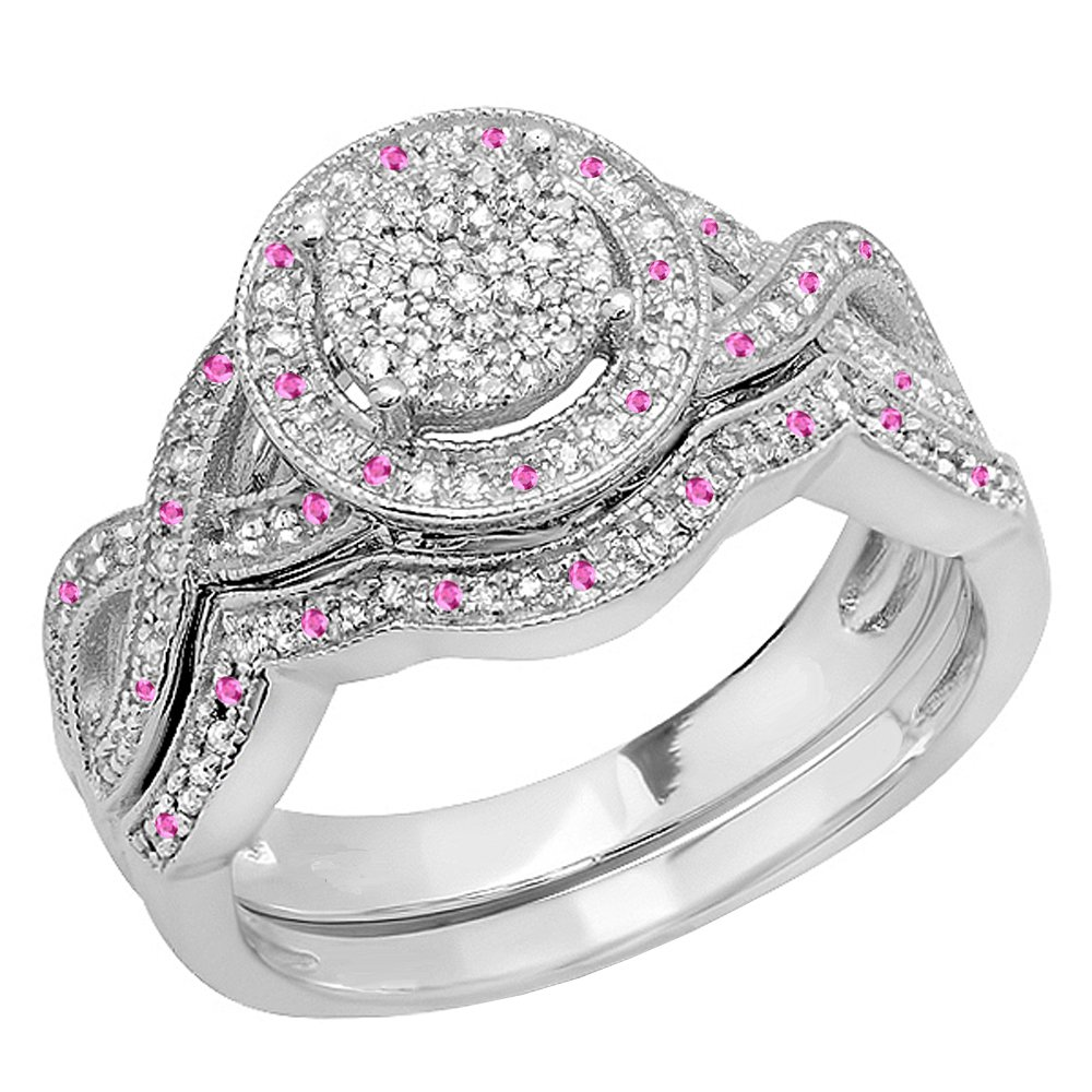 Sterling Silver Round Pink Sapphire & White Diamond Womens Engagement Ring Set (Size 11.5)