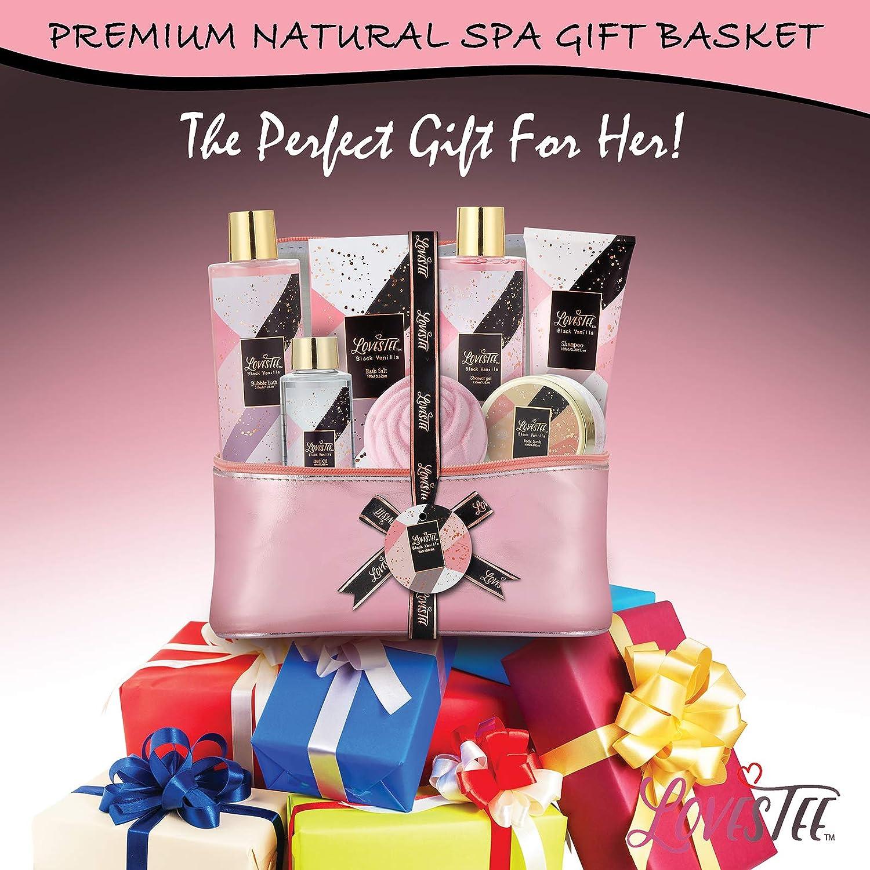 Bath & Body Spa Gift Basket for Women, Best Gift Idea for Christmas, Mother's Day & Birthday, Black Vanilla Set Includes Bubble Bath, Shower Gel, Shampoo, Body Scrub, Message Oil, Bath Salt, Bath Bomb : Beauty