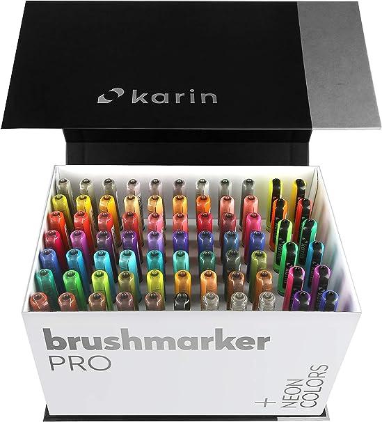 Karin Mega Box Plus – 72 colores + 3 rotuladores, pinceles a base de agua, adecuados para pintar, dibujar y escribir, multicolor, colores neón contienen 27C13: Amazon.es: Oficina y papelería