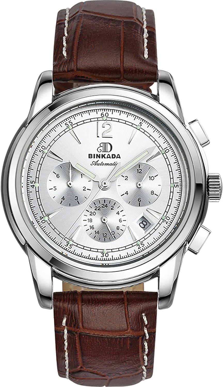 BINKADA 6ポインタ自動機械ホワイトダイヤルメンズ腕時計# 706204 – 1 B01DZL01Z4