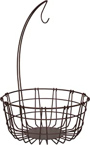 Spectrum Diversified Austin Tree Open Fruit Basket with Banana Holder, Minimalist Organizer for Fruits & Other Food Items, Sturdy Steel Construction & Rustic Design, Medium, Bronze
