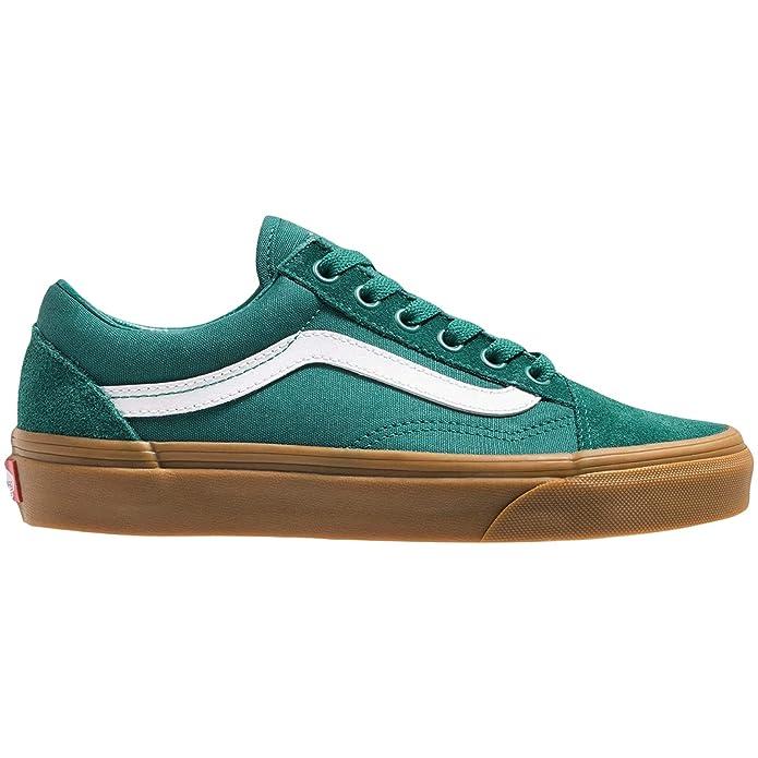 Vans Old Skool Sneaker Damen Herren Kinder Unisex Grün mit weißen Streifen (Quetzal Green Gum)