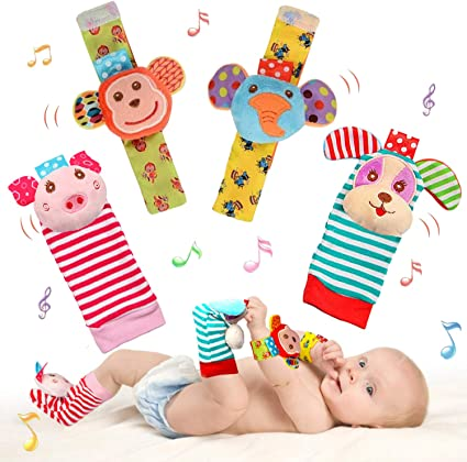 Baby Sock Toy Wrist Rattles Foot Finder 4 Pack for 0-2 Years Infant Toddler