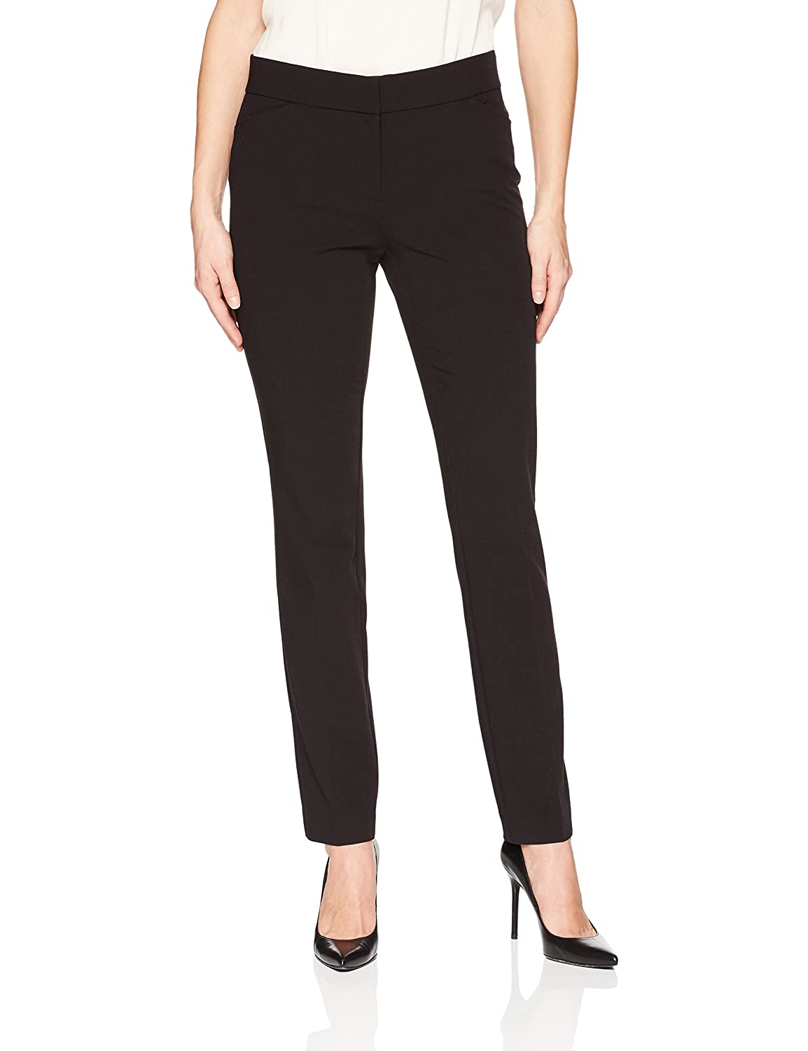 Lark & Ro Womens Classic Fit Refined Twill Stretch Straight Leg Pant LABF7002