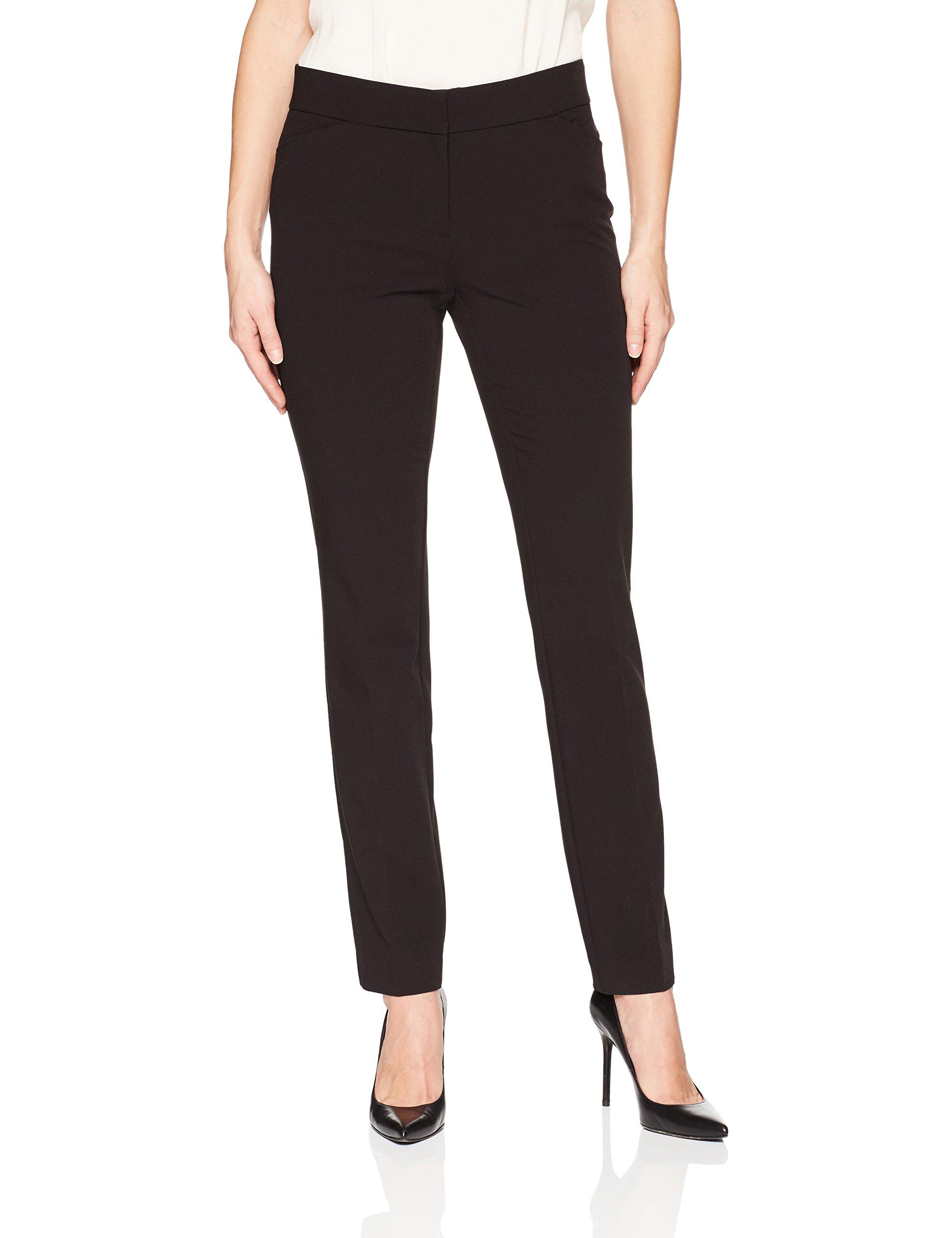 Lark & Ro Women's Straight Leg Trouser Pant: Classic Fit, Black, 2L