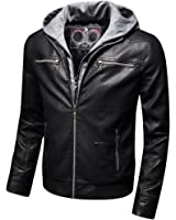 Mens Classic Removable Hoodie Jacket Moto Racer Faux Leather Coat BLACK