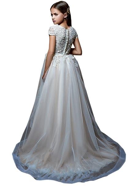 91ce170832 Portsvy Vestido de Dama de Honor con Diseño de Flor de Tul de Encaje ...