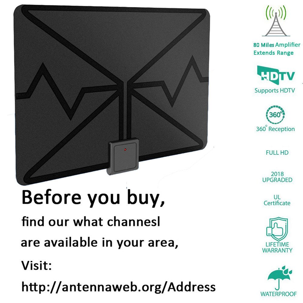 Amazon.com: TV Antenna,Indoor Digital HDTV Antenna Amplified 80 ...