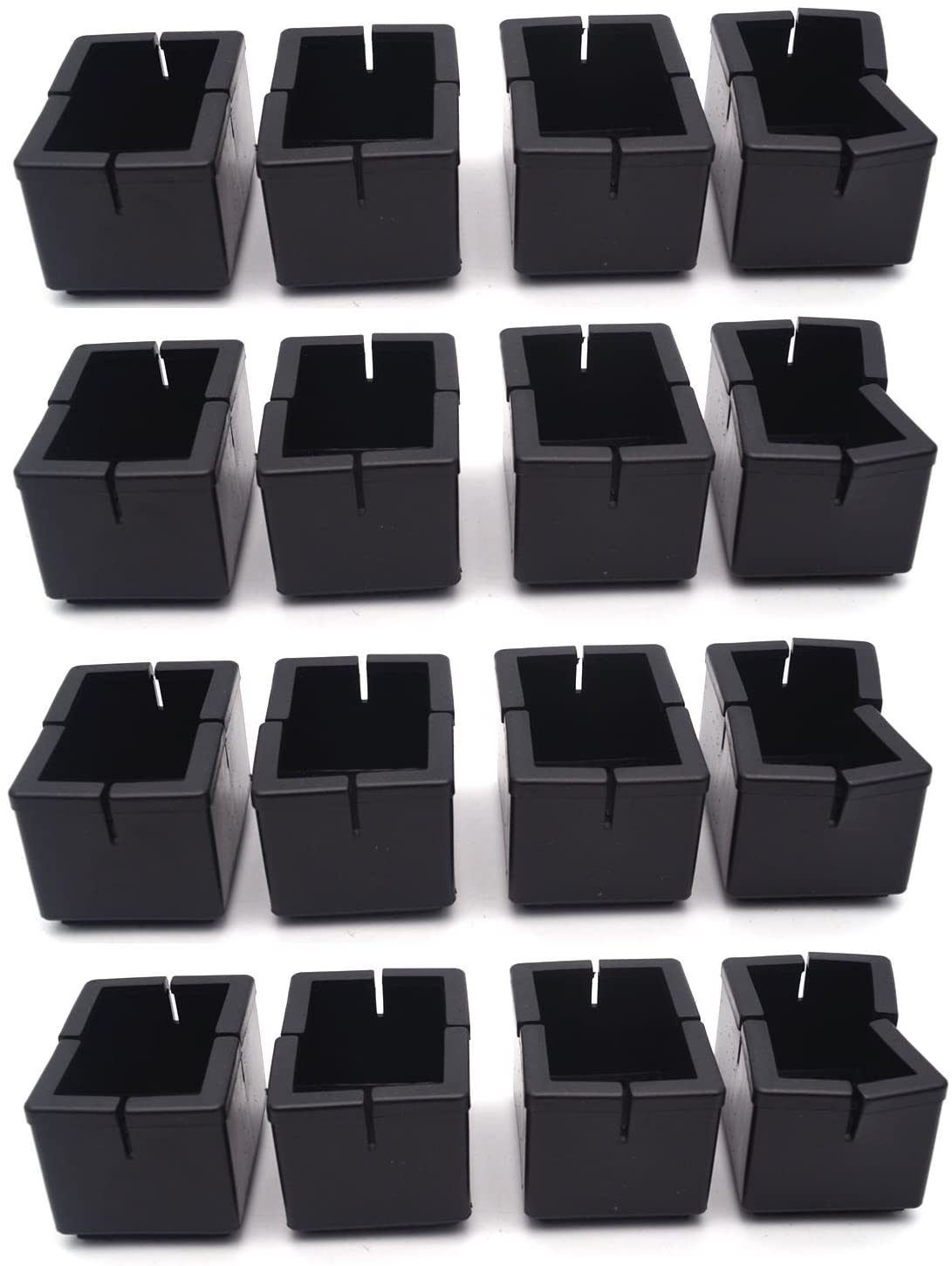 "Antrader 16pcs Silicon Rectangle Furniture Pads Floor Protector Sofa Non-Slip Chair Feet Pad Table Leg Cap with Felt Pads Length 1-7/16"" to 1-5/8"" (3.7cm-4.2cm), Width 5/8"" to 7/8"" (1.6-2.2cm) Black"