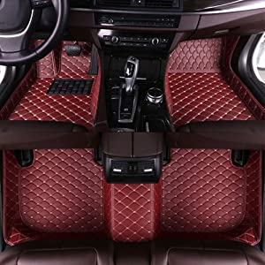 8X-SPEED Custom Car Floor Mats for Land-Rover Range Rover 5-Seats 2018-2019 not Extended Version Full Coverage All Weather Protection Waterproof Non-Slip Leather Liner Set Wine red