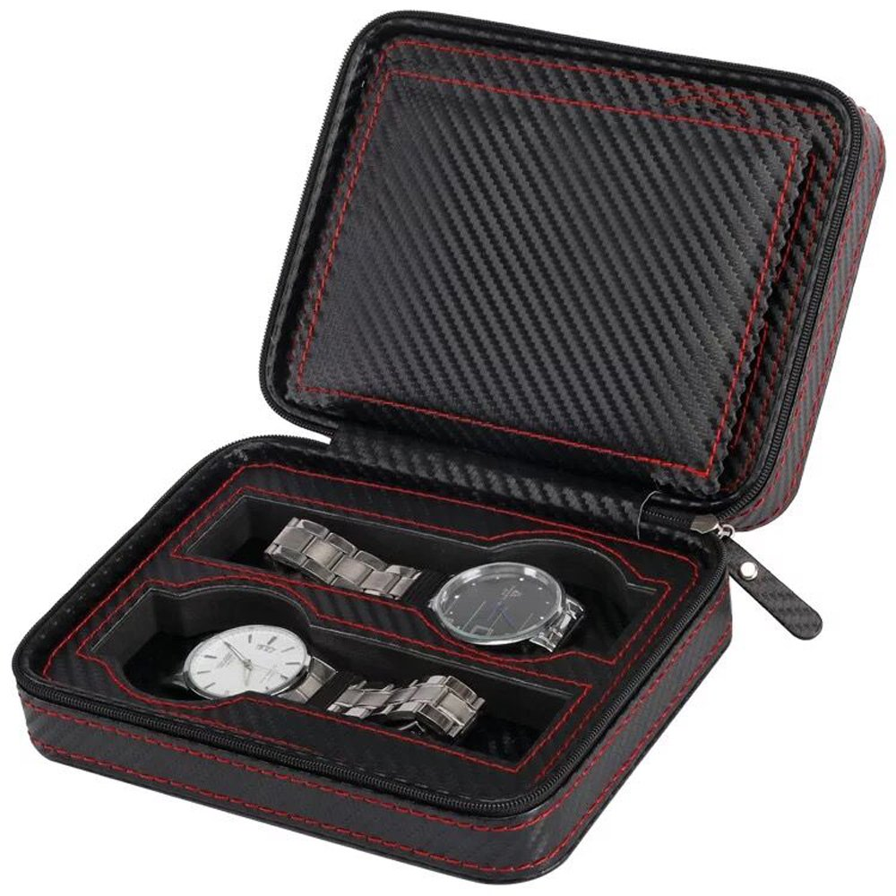 Black Zippered Watches Box Travel Case - Watch Storage Organizer Collection - Top Grade Carbon Fibre PU Leather (4-Slot)