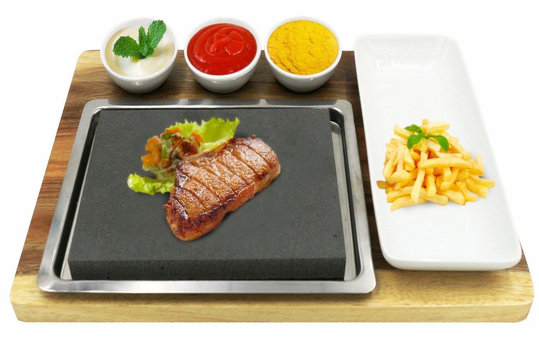 Fecihor Steak Stone and Plate set Cooking in pietra calda di bambù comprendono servire di bambù, Lava Rock, piatto di ceramica, piatti di condimento, vassoio in acciaio inox
