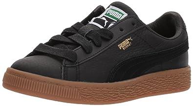 big sale 2a9e2 afc69 PUMA Unisex Basket Classic Gum Deluxe Kids Sneaker, Black, 1 M US Little