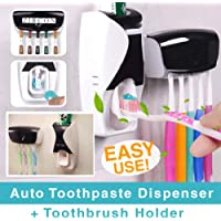 Zircon Automatic Toothpaste Dispenser with Wall Mount Toothbrush Holder Toothpaste Squeezer with 5 Set Toothbrush Holders Free Toothpaste Dispenser