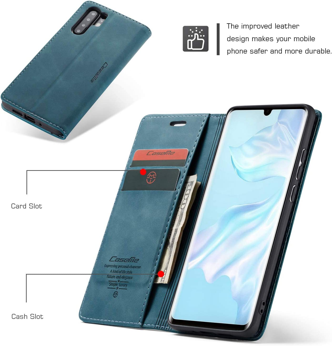 AKC Funda Compatible para Huawei P30 Pro Carcasa con Flip Case Cover Cuero Magn/ético Plegable Carter Soporte Prueba de Golpes Caso-Azul