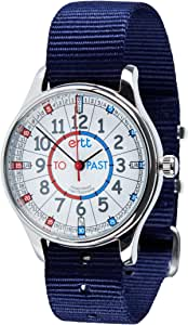 EasyRead time teacher Red & Blue Face, Past & To Waterproof Watch - Navy Strap