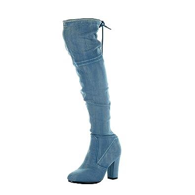 scarpe di separazione 4c1f4 16b57 Angkorly - Scarpe da Moda Stivali Alti Cavalier Jeans Denim Flessibile  Donna Tacco a Blocco Tacco Alto 8.5 CM