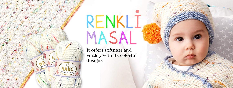 Amazon.com: Yarn for Baby Blankets Soft Acrylic NAKO Renkli Masal 100% Anti-Pill Acrylic Yarn for Crochet, Knitting & Crafting Lot of 4skn 400gr 720yds ...
