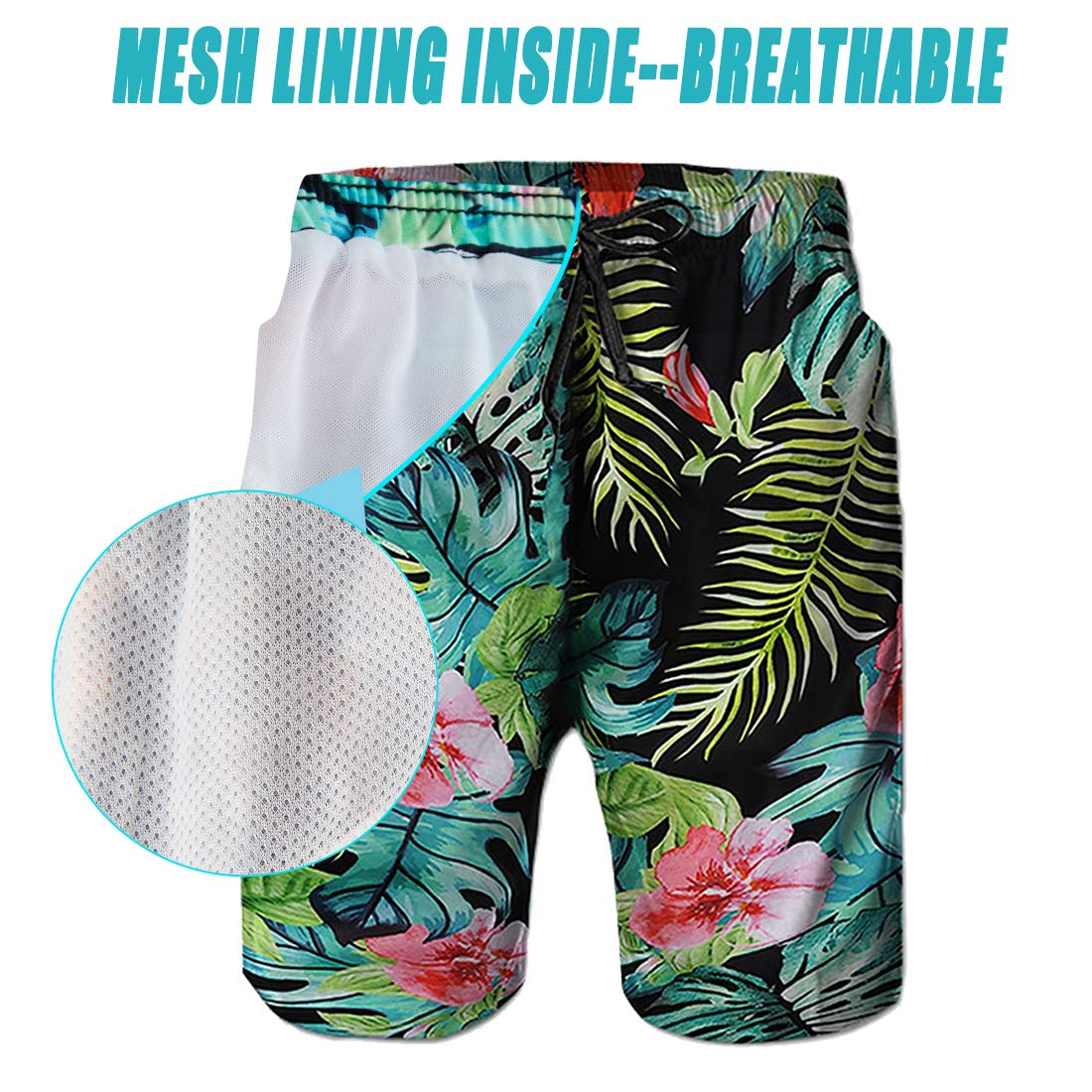 5ab6db6a85 Leapparel Men's Funny Swim Trunks Quick Dry Summer Surf Beach Board Shorts  with Mesh Lining/ larger image