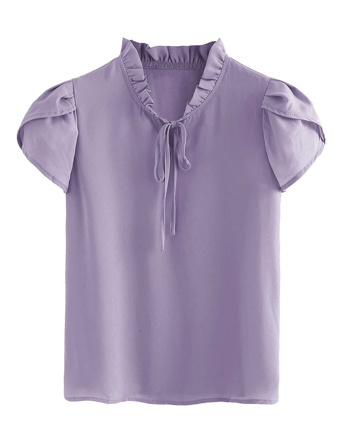 Purple 11 Romwe Women's Casual Cap Sleeve Bow Tie Blouse Top Shirts