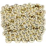Buchstaben-Perlen, D: 7 mm, Lochgröße 1,2 mm, Gold, 21g, ca. 200 Stck