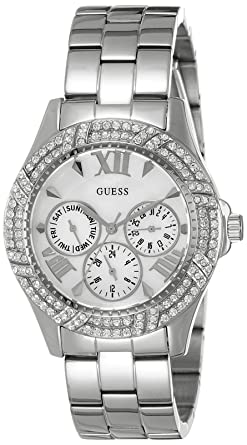 Ladies GUESS W0632L1 Sporty Silver-Tone Watch with Multi-Function Mother-of