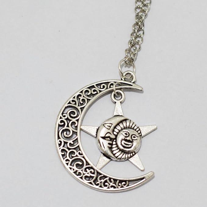 collier lune soleil etoile