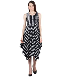 G & M Collections Women's Georgette Printed Asymmetric Sleeveless Dress (White and Black, Medium)