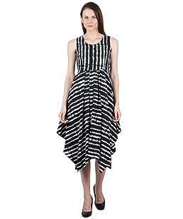 G & M Collections Women'S Knee Length Dress (Gmlr643-L_White & Black_Large)