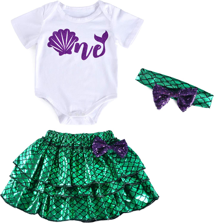 Easy Mermaid Costume Purple Shells Halloween Baby Romper Bodysuit
