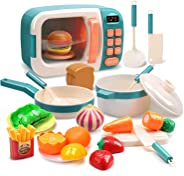CUTE STONE Microwave Toys Kitchen Play Set,Kids Pretend Play Electronic Oven with Play Food,Cookware Pot and Pan Toy Set, Co
