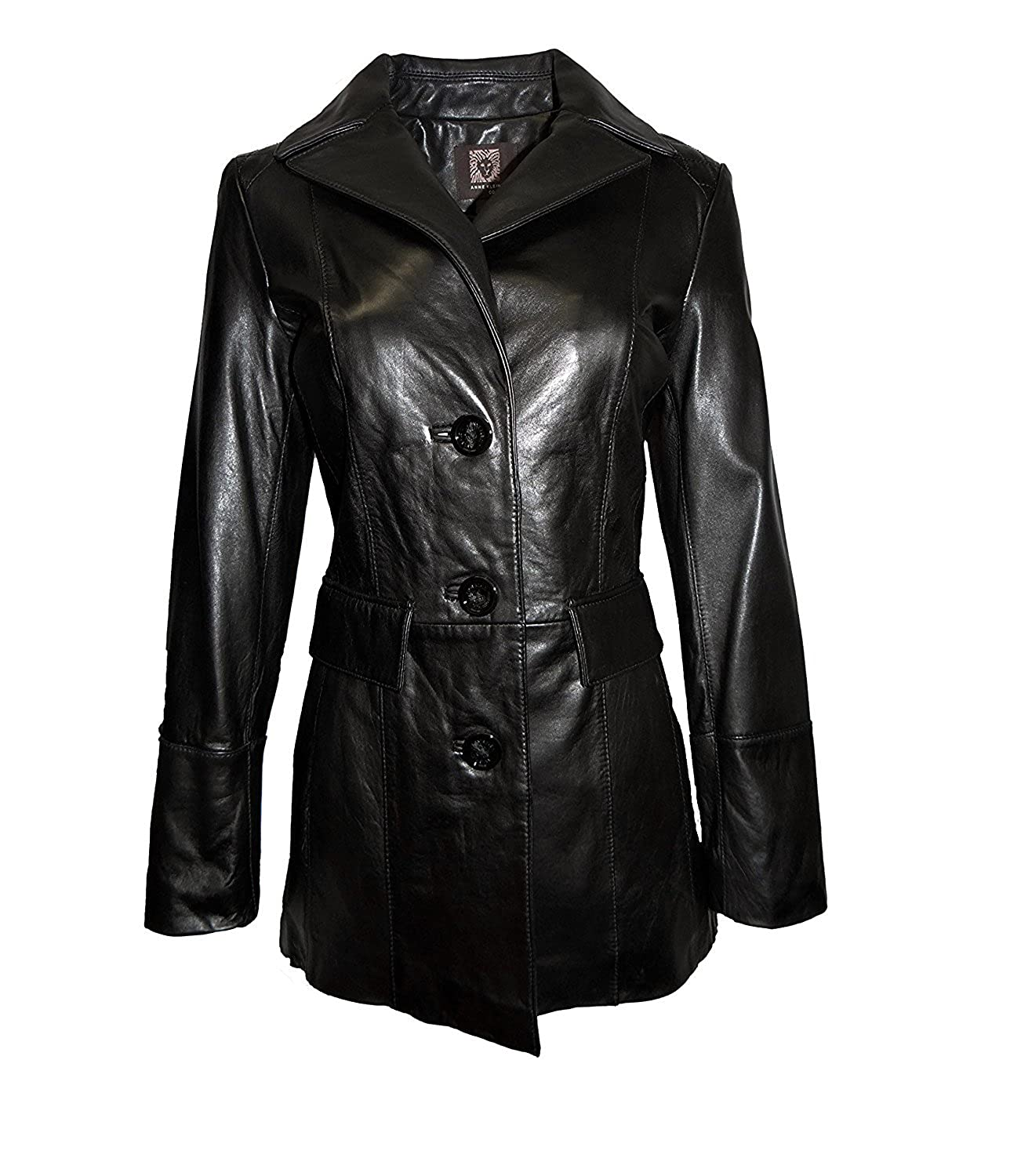 top brands select for authentic amazing selection Anne Klein Mid-Length Button Front Leather Jacket-Black-S at ...