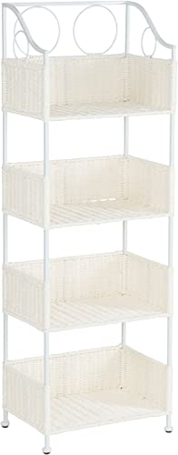 Household Essentials Paper Rope 4-Tier Shelf, White