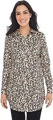 Chico's Women's No-Iron Sateen Leopard-Print Tunic Animal