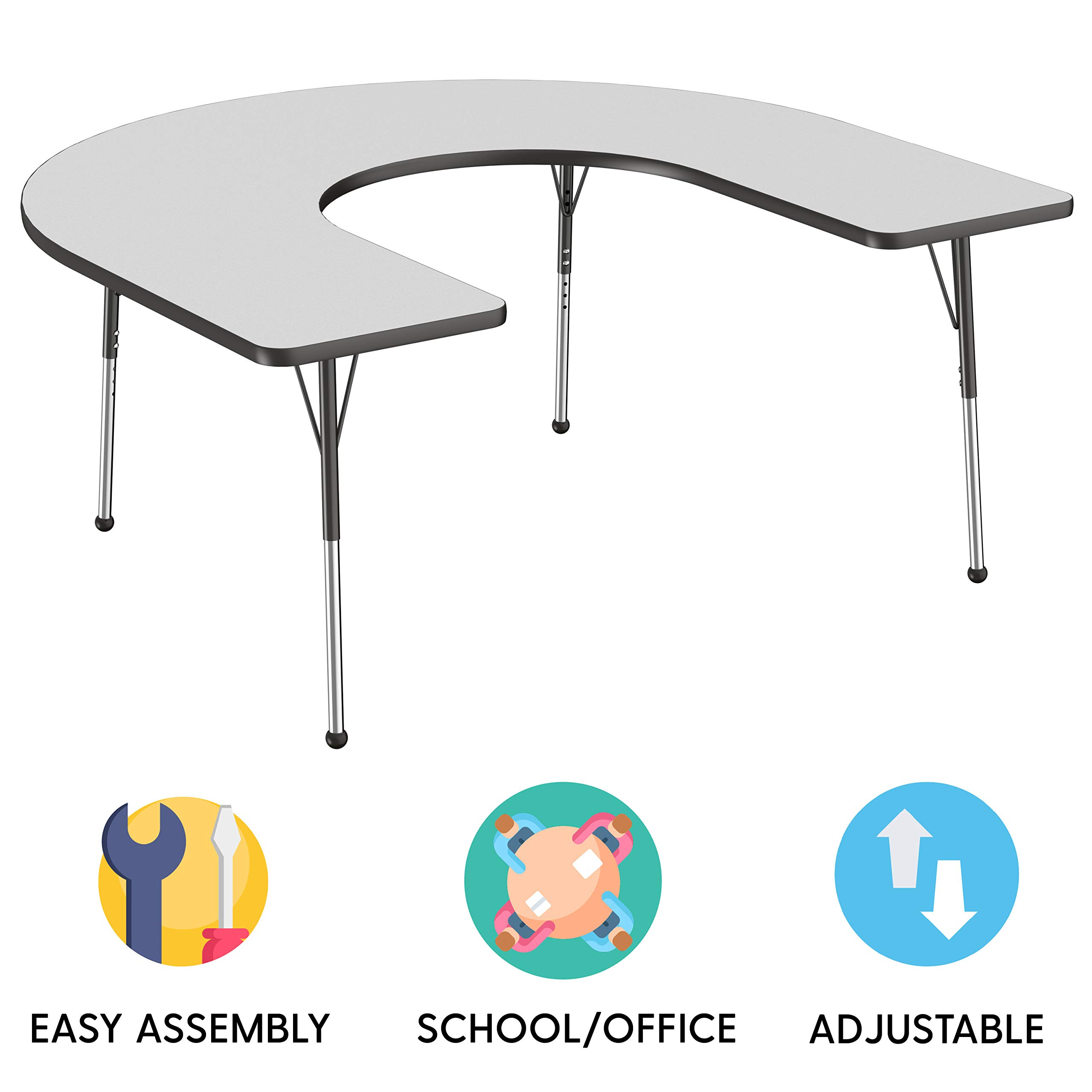 FDP Horseshoe Activity School and Office Table (60 x 66 inch), Standard Legs with Ball Glides for Collaborative Seating Environments, Adjustable Height 19-30 inches - Gray Top and Black Edge by Factory Direct Partners