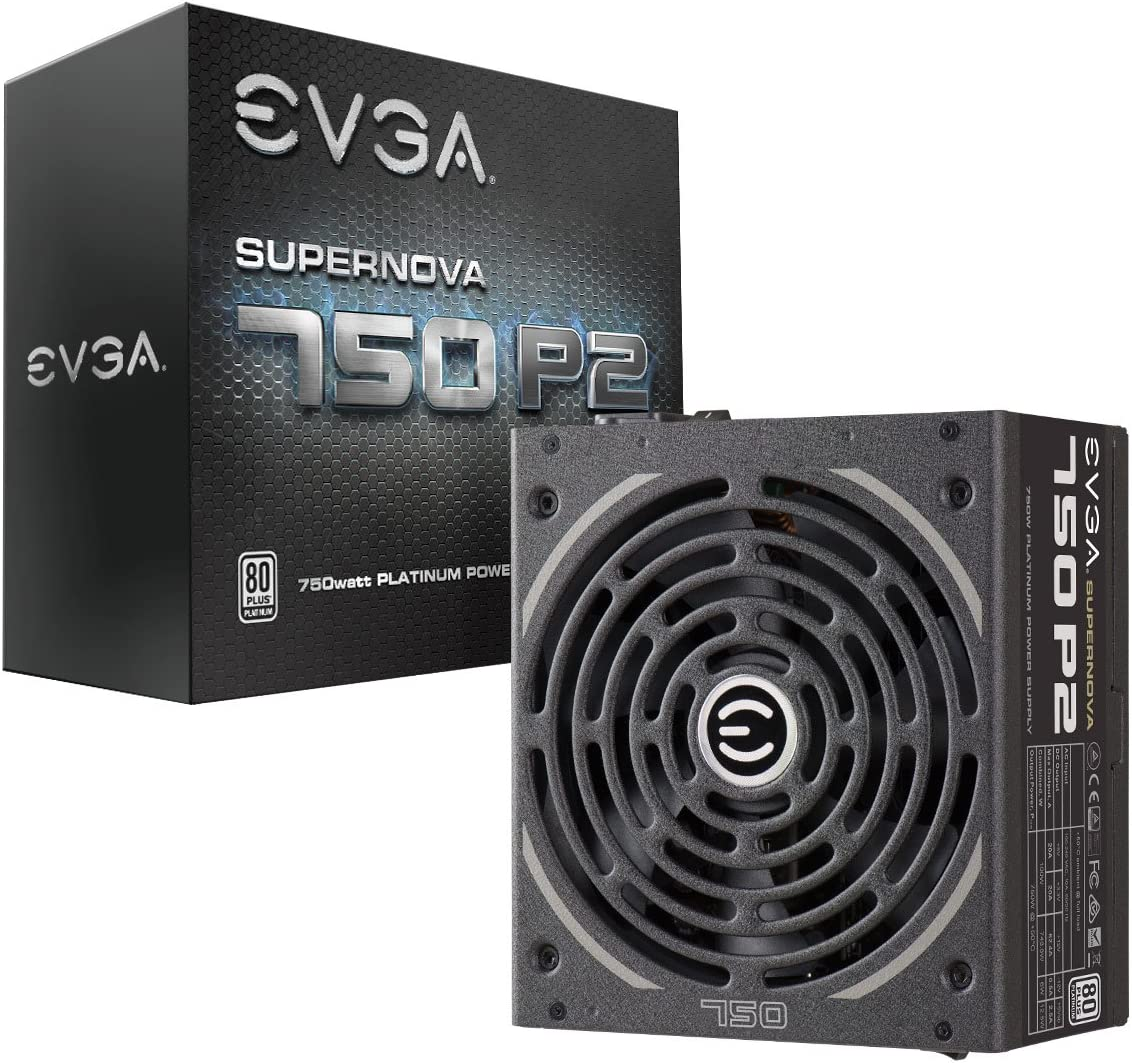 EVGA SuperNOVA 750 P2, 80+ PLATINUM 750W , Fully Modular , EVGA ECO Mode, 10 Year Warranty , Includes FREE Power On Self Tester, Power Supply 220-P2-0750-X1,Black