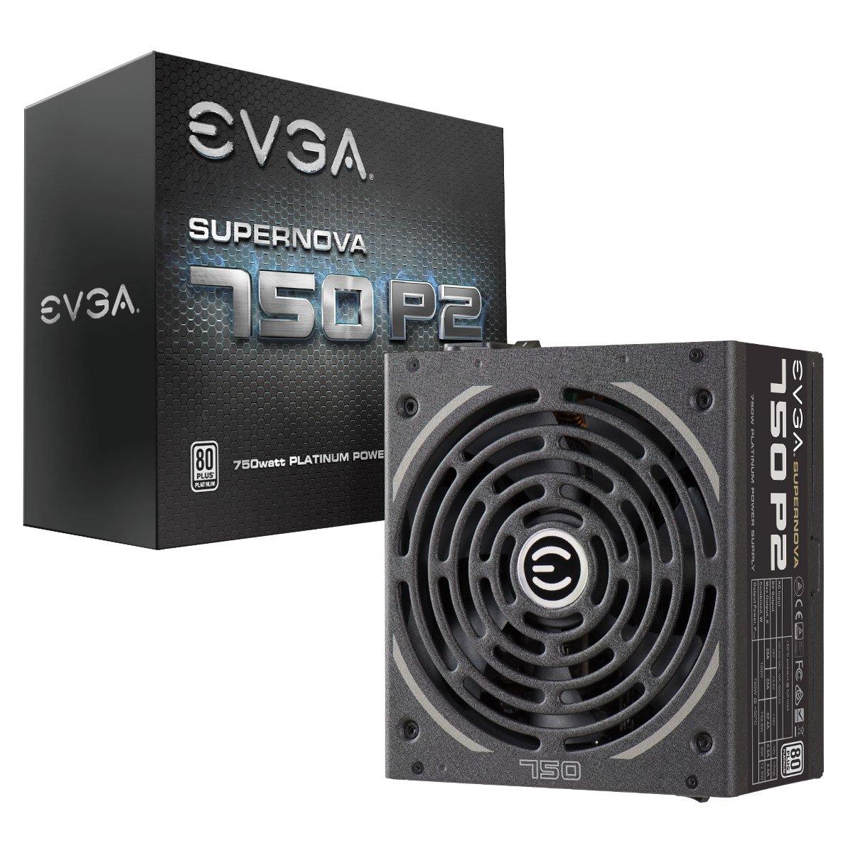 EVGA SuperNOVA 750 P2, 80+ PLATINUM 750W, Fully Modular, EVGA ECO Modo, 10 anni Garanzia, include il tester automatico-Alimentazione GRATUIT, Alimentazione PC 220-P2-0750-X2 EVHE6 Power Supplies Power Unit