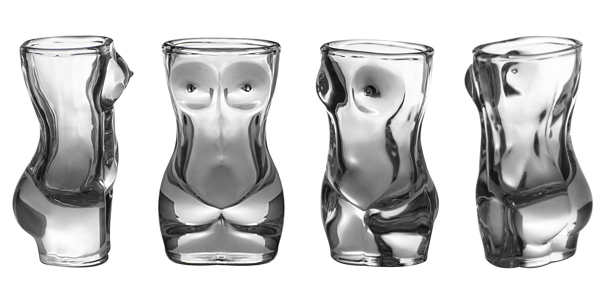 Shot Glass Set (4-Piece Set) Crystal, Women Shaped Custom Design | Bachelor or Bachelorette Party Drinks | Tequila, Vodka, Whiskey, Bourbon | Funny, Durable Style (FemaleV2)