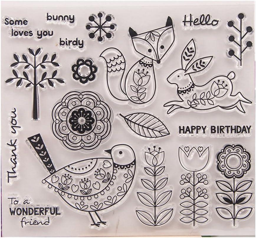 Kimruida Bird Animals Clear Silicone Seal Stamp DIY Album Scrapbooking Photo Card Decor