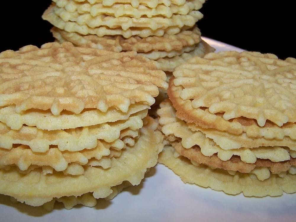 mistermoby Traditionell Italienische Cookies Maker Maschine Pizzelle Waffle Wafer Hippe Geb/äck Modell 3