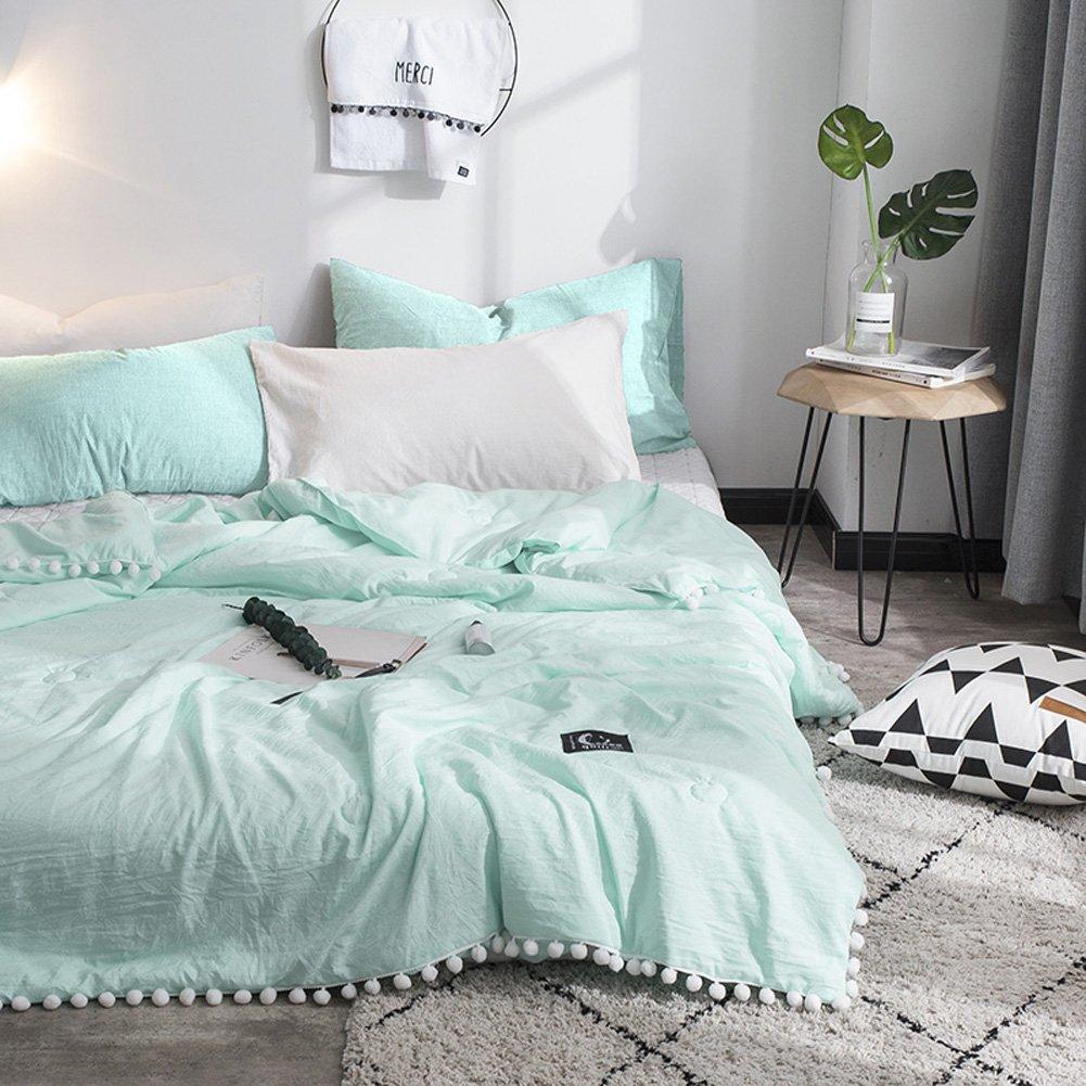 Leadtimes Thin Comforter Cotton Kids Quilt for Summer Modern Pompom Design Solid Color Summer Comforter Quilt Kids Blanket Pineapple, Full//Queen L040901Q1