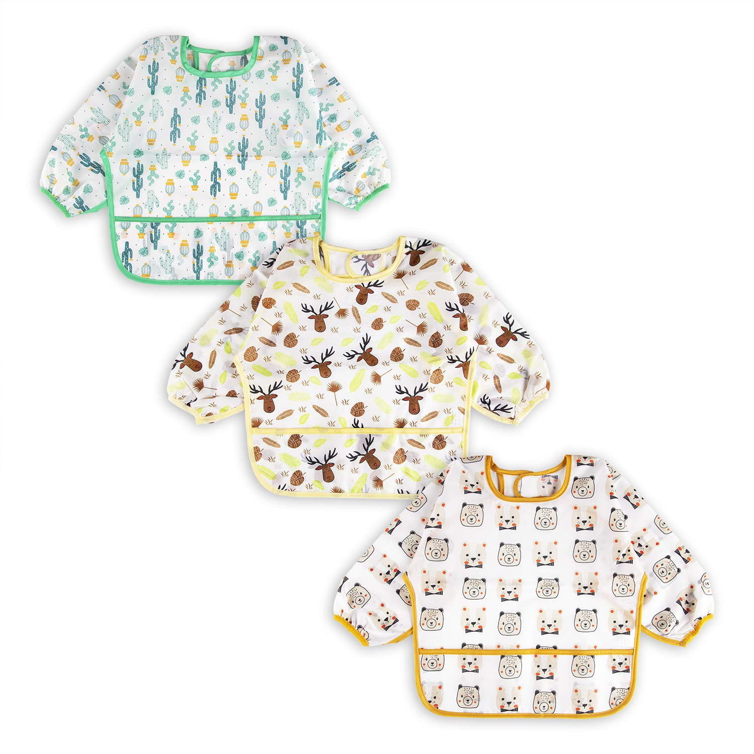 3 Pcs Long Sleeved Bib Set | Baby Waterproof Bibs with Pocket Bundle | Toddler Bib with Sleeves and Crumb Catcher | Stain and Odor Resistance Play Smock Apron - Pack of 3 | 12-24 Months