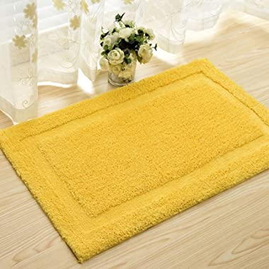 DaringOne Microfiber Polyester Non-Slip Rectangular Spa Mat, Plush Water Absorbent Accent Rug for Bathroom Vanity, Bathtub/Shower, Machine Washable Yellow 17''x25''