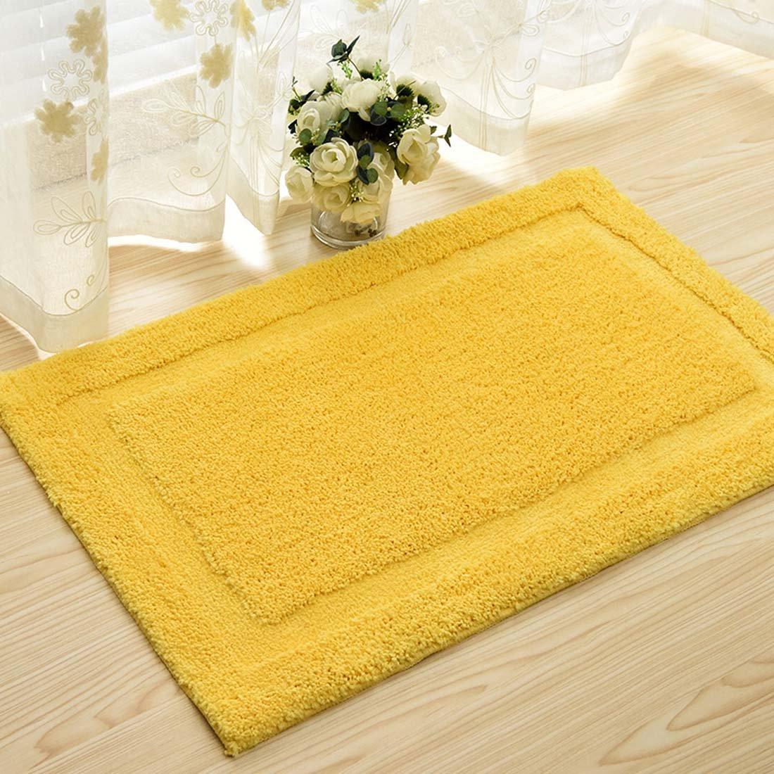 DaringOne Microfiber Polyester Non-Slip Rectangular Spa Mat, Plush Water Absorbent Accent Rug for Bathroom Vanity, Bathtub/Shower, Machine Washable Yellow 17''x25''