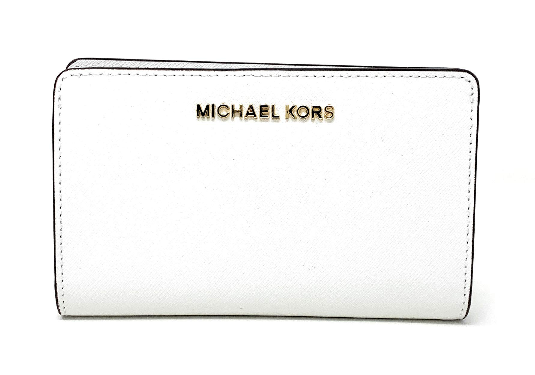 Michael Kors Jet Set Travel Saffiano Leather Slim Bifold Wallet (Optic White)