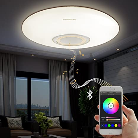 Led music ceiling light with bluetooth speaker 25w modern light fixtures with rgb color changing